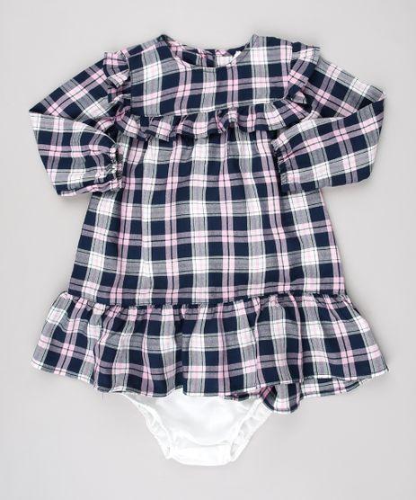 Vestido-Infantil-Estampado-Xadrez-com-Babado-Manga-Longa---Calcinha-Azul-Marinho-9575011-Azul_Marinho_1