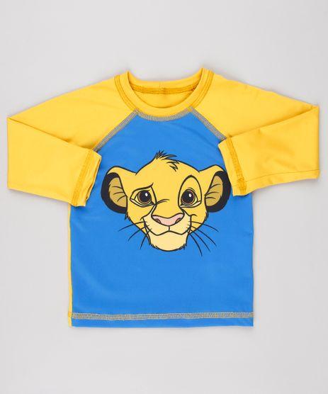 Camiseta-de-Praia-Infantil-O-Rei-Leao-Simba-Raglan-Manga-Longa-Mostarda-9522547-Mostarda_1