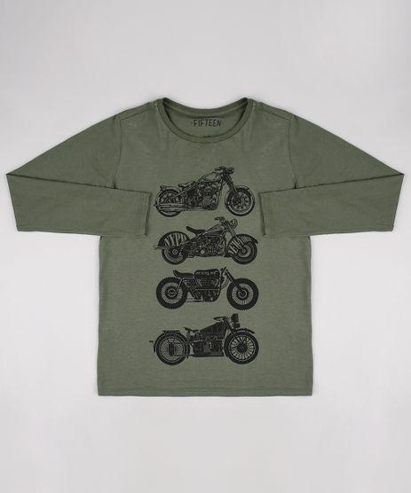 bcc83896b Camiseta-Infantil-Motocicletas-Manga-Longa--Verde-Militar-9542444