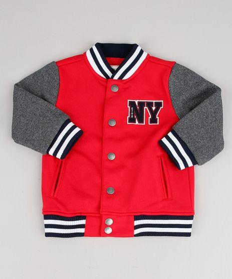 Jaqueta-Bomber-Infantil-em-Moletom--NY--com-Bolsos-Vermelha-9359334-Vermelho_1