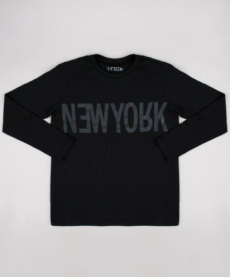 41ee6941f2 Camiseta-Infantil--New-York--Manga-Longa--Preta