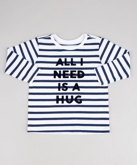 Camiseta-Infantil-Listrada--All-I-Need-is-a-Hug--Manga-Longa-Off-White-9441605-Off_White_1