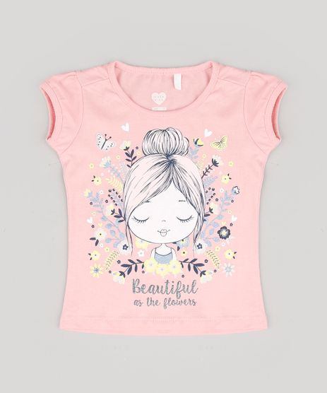 Blusa-Infantil--Beautiful-as-the-Flowers--Manga-Curta-Rosa-Claro-9556295-Rosa_Claro_1