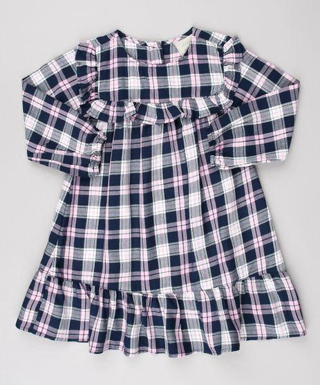 Vestido-Infantil-Estampado-Xadrez-com-Babado-Manga-Longa-Azul-Marinho-9550585-Azul_Marinho_1