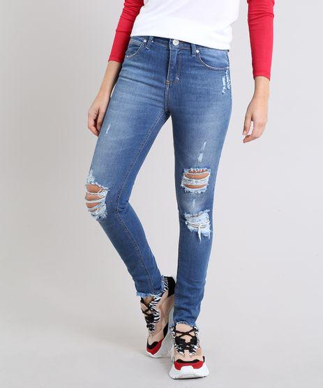 9564123f4 Calca-Jeans-Feminina-Skinny-Destroyed-Barra-Desfiada-Azul-