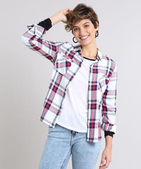 Camisa-Feminina-Estampada-Xadrez-com-Bolsos-Manga-Longa-Branca-9573168-Branco_1