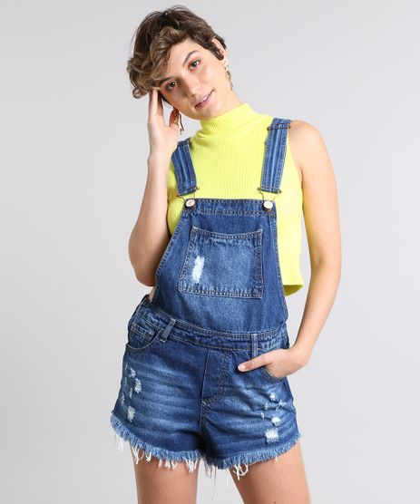 6646c212b Jardineira-Jeans-Feminina-Relaxed-com-Rasgos-Azul-Medio-