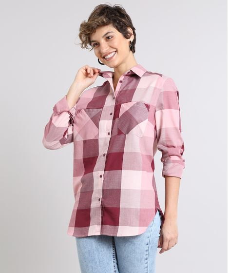 c775cdbbc Camisa Feminina Longa Estampada Xadrez com Bolsos Manga Longa Rosa - cea